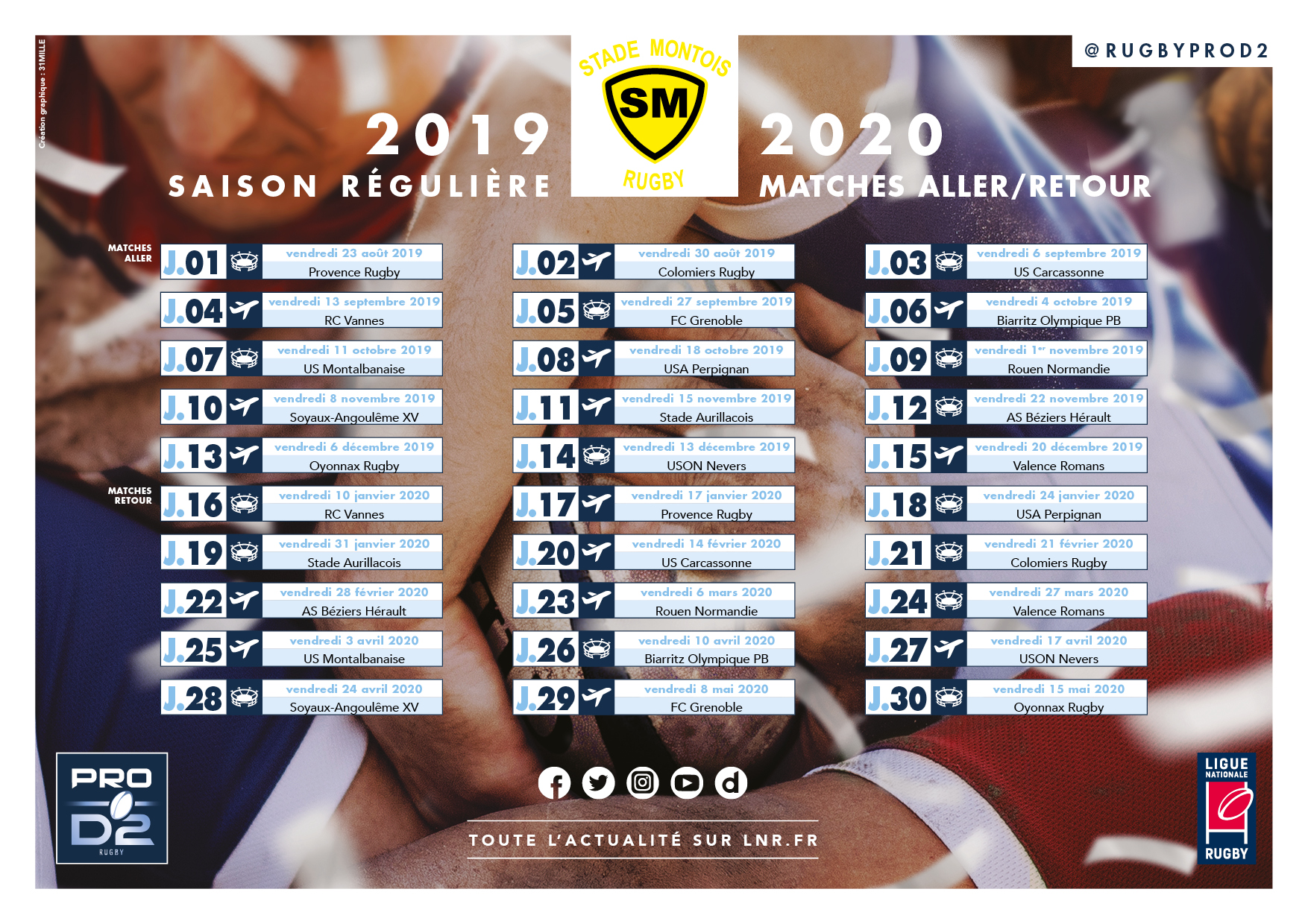 Calendrier 2020 Rugby.Calendrier 2019 2020 Stade Montois Rugby