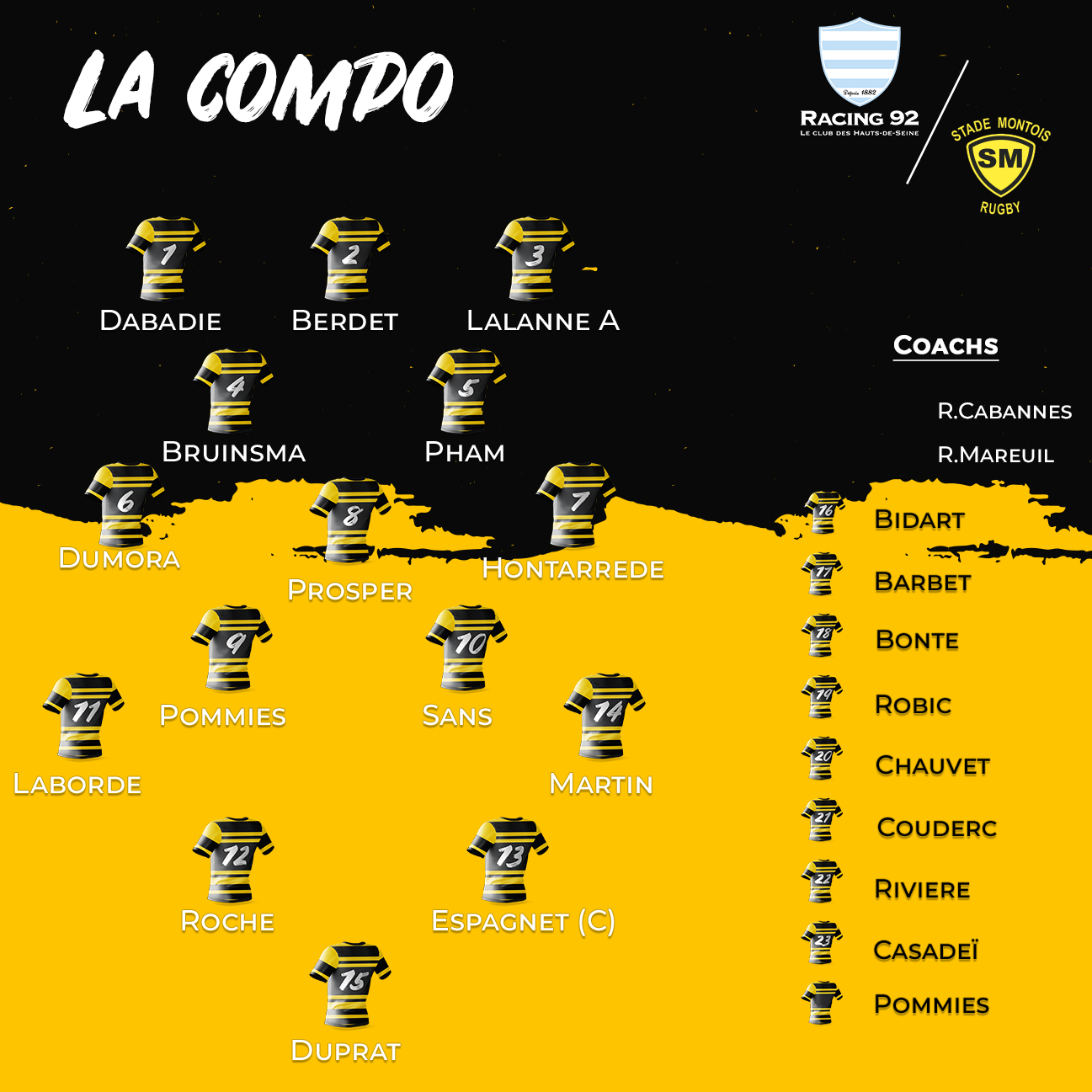 Composition des Espoirs face au Racing 92