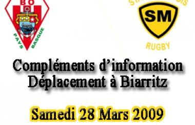 Compléments d'information pour le déplacement à Biarritz